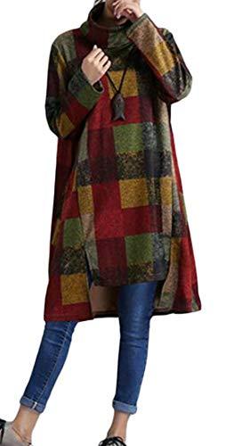 Joe Wenko Womens Long Sleeve Casual Turtleneck Fall/Winter Midi Dress Checkered Irregular Hem Green M