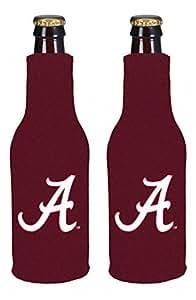 NCAA College 2014 Team Logo Color Bottle Suit Holder Holder Koozie Cooler 2-Pack (Alabama Crimson Tide)