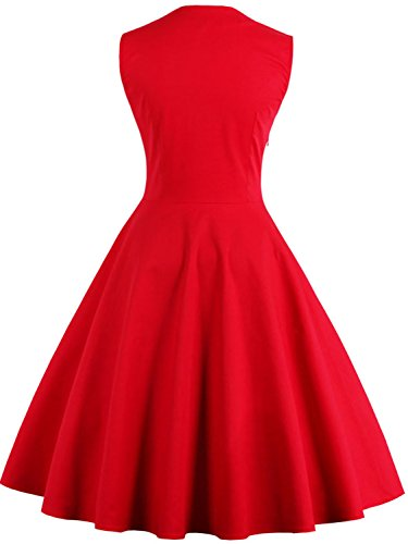Evening Vintage 1950s Red Dresses Cocktail Gown Women Retro Babyonline Rockabilly UPn0vqwx
