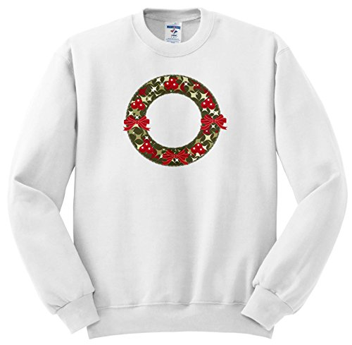Anne Marie Baugh - Christmas - Red and Green Christmas Holly Berry Wreath and Bows Illustration - Sweatshirts - Youth Sweatshirt Large(14-16) (SS_266708_12) - Christmas Wreath Holly Bow