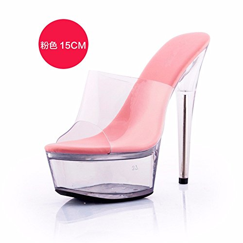 semplice partito moda di FLYRCX cool personalità alto sandali tacco trasparente Estate pantofole ladies tacco di j scarpe sottile qqaAv0g