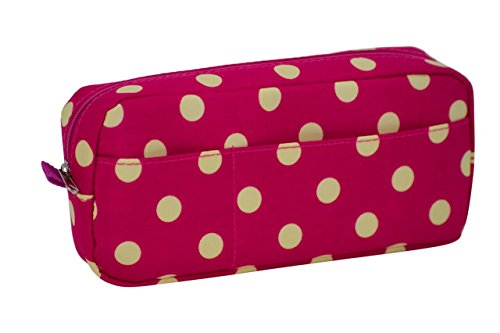 """8"""" x 4"""" Polka Dot Student Pen Pencil Case - Coin Purse Pouch Cosmetic Makeup Bag - Zippered Top - Use for School Supplies, Coins, or as a Makeup Bag - Keeps Items Secure - Pink/Off White"""
