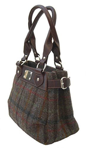 Chantam, Borsa a mano donna Harris Tweed Brown