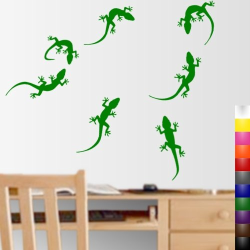 StikEez Green Gecko 7-Pack Fun Reptile Lizard Wall and Window Decals