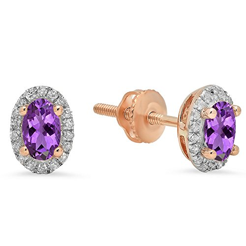 Dazzlingrock Collection 10K Oval Cut Amethyst & Round Cut White Diamond Ladies Halo Stud Earrings, Rose Gold