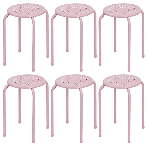 COSTWAY Stackable Daisy Design Metal Stool Backless Round Top Kitchen Home,  Garden U0026 Living E (6 Pack) (Pink)