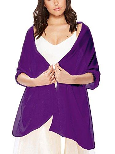 - Fashion Womens Silky Bridal Evening Soft Wrap Scarf Shawl Grape
