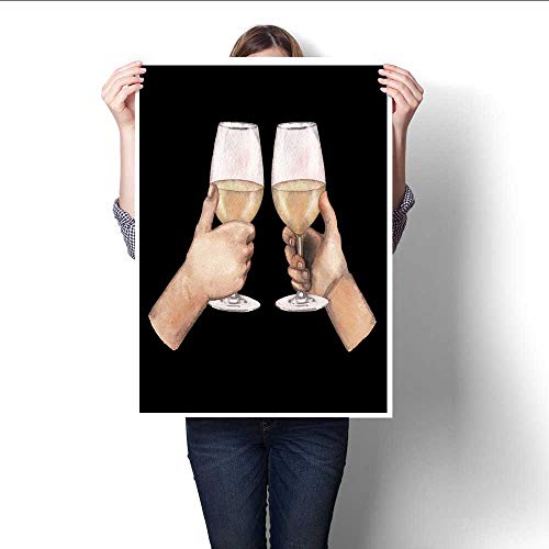 (Anshesix Art-Canvas Prints Two Watercolor Hands Holding White Wine Glasses Isolated on Black Background Customizable Wall Stickers 20