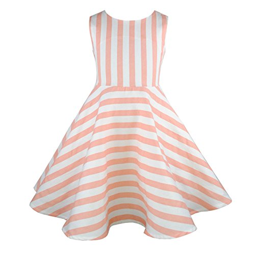 HCABL Girls Casual Sleeveless Swing Dress, Organic Cotton, Summer Stripe, 2T-16 Girls,(6) - Organic Swing Dress