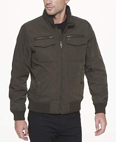 Tommy Hilfiger Men's Performance Bomber Jacket, Green, Large -