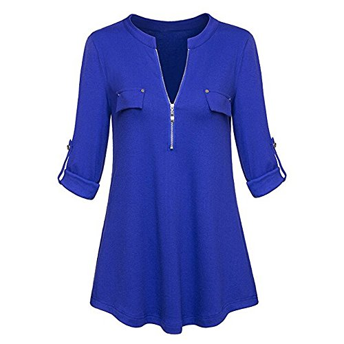 Fashion Casual Roll-up Long Sleeve Womens V Neck Zipper Shirts Blouse Tops T-Shirt Tops by LUCA
