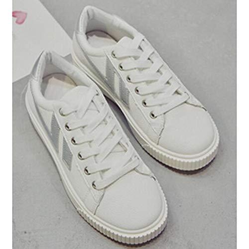 da Bianco Argento Sneakers Scarpe Comfort PU piatto Estate Tacco Rosa poliuretano White Bianco ZHZNVX Silver ed donna Primavera pgHq665
