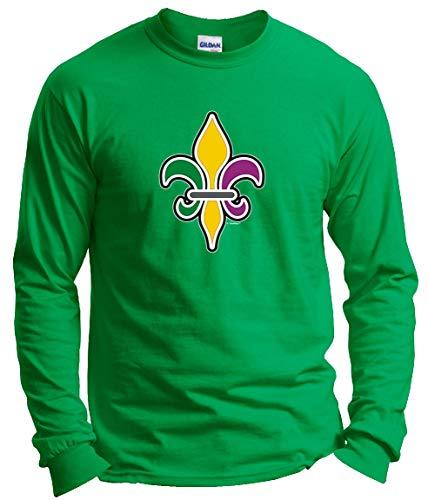 St. Fleur-de-LYS Vintage MardiGras Top Mardi Gras Outfit Fleur-de-lis Mardi Gras Clothing Long Sleeve T-Shirt Large Green
