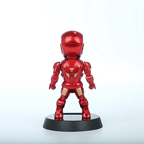 Superhero Iron Man PVC Figure Solar Energy Shake head Toy 12cm solar toys dancing
