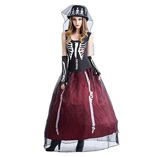 Forart Novelties Women's Sugar Skull Costume Adult Halloween Cosplay (Red Sugar Skull Halloween Costume)