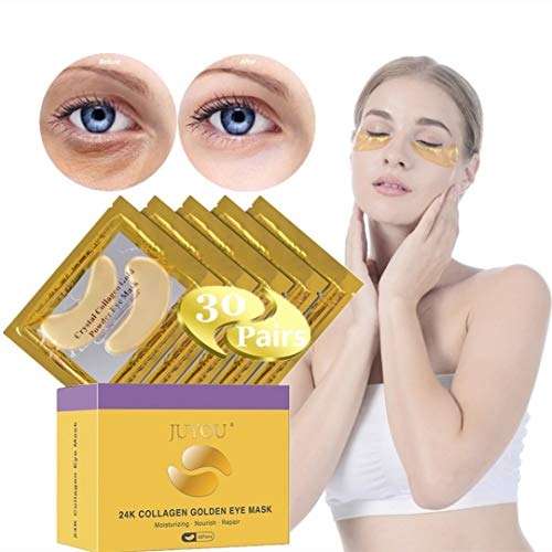 41sZoMUgH7L - Under Eye Patches, Eye Mask, Gold Under Eye Mask, Gold Eye Mask, Eye Pads, Collagen Eye Patch, JUYOU Eye Patch For Anti-wrinkles, Puffy Eyes, Dark Circles, Fine Lines Treatment (30Pairs 24k Gold)