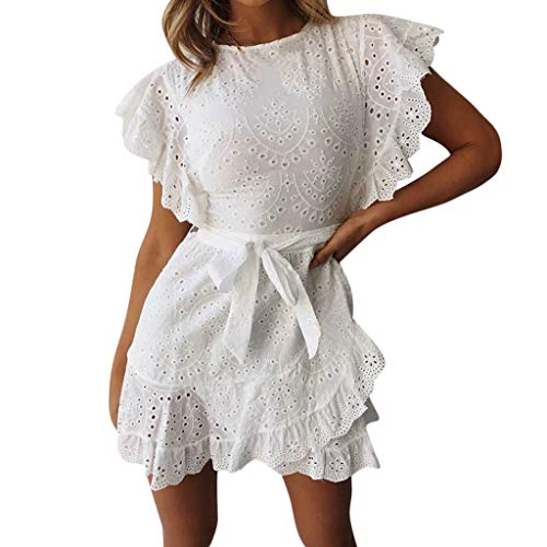 OOEOO Women Sexy Solid Ruffled Sleeved Zipper Irregular Round Neck Lace Mini Dress(White,S)