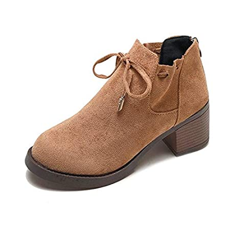 HRCxue Tacco a Spillo Thick with Martin Boots Ankle Boots with a Female Suede Bow Plus Velvet
