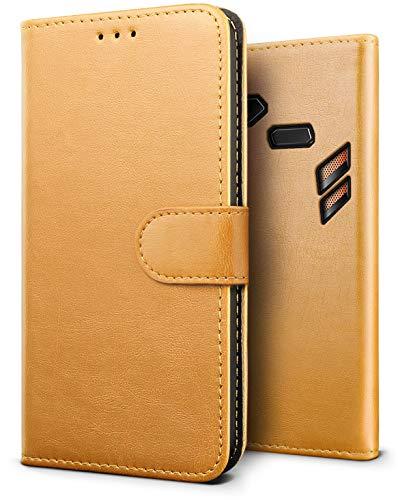 ダッシュ寝る認証ASUS Rog Phone ケース【SLEO】クラシックレトロ?ベストレザー 手帳型 札入れフリップ PU革 柔軟カバー Rog Phone ZS600KLケース スタント機能 横開き(ブラウン)