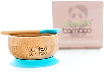 Bambou naturel Ensemble bol pour b/éb/é avec ventouse et cuill/ère assortie stabilisation du bol par ventouse