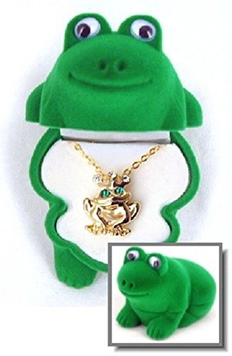 DMM Frog Pendant Gold and Crystal Necklace with Shaped Velour Jewelry Gift Box