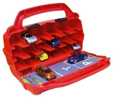 Motormax 78117 - Hot Wheels Car Collector Case / Storage Box, red