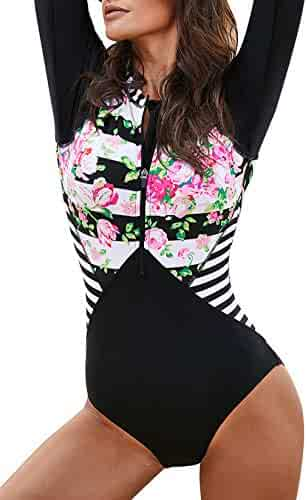 62fdec4f7a Aleumdr Womens Zip Front Printed Half Sleeve/Long Sleeve One Piece Swimsuit  Swimwear