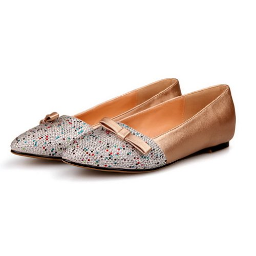 VogueZone009 Womens Closed Pointed Toe Soft Material Micro Fiber PU Solid Flats with Bowknot and Glass Diamond Gold YMIWCa8wGH