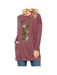 Womens Casual Long Sleeve Christmas Reindeer Sequin T Shirt Loose Tops KIKOY
