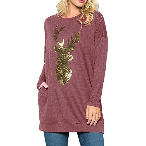 NUWFOR Women Christmas Reindeer Sequin Long Sleeve Crew Neck Shirt Tops -