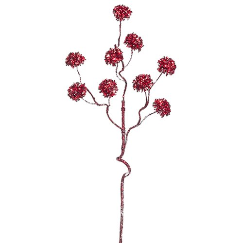 28'' Artificial Glittered PomPom Flower Spray -Red (pack of 12) by SilksAreForever