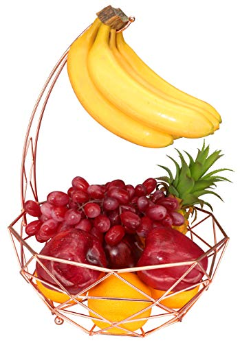 RosyLine Fruit Basket with Banana Hanger, Detachable Banana Hanger, Home accent furnishings (Rose gold)