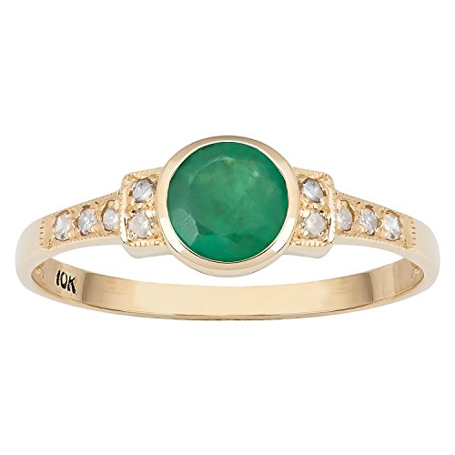 10k Yellow Gold Vintage Style Genuine Round Emerald and Diamond Ring - Gold Genuine Emerald Ring