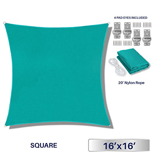 Windscreen4less Sun Shade Sail Outdoor Patio Backyard UV Block Awning Steel D-Rings 16ft x 16ft Turquoise Light Green Square - Custom by Windscreen4less