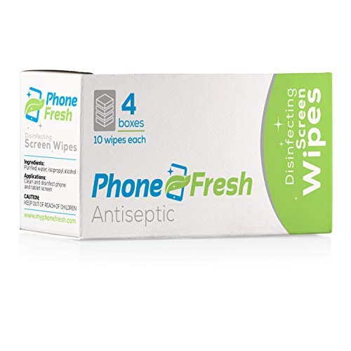 Phone Disinfectant Wipes - PhoneFresh Disinfecting Screen Wipes, Pre-Moistened Cleansing Cloths for Phones and Lenses (4 Pack of 10 Wipe Boxes)
