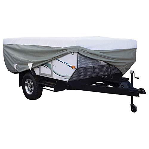 Classic Accessories OverDrive PolyPRO 3 Deluxe Pop-Up Camper Trailer Cover, Fits 12' - 14' Trailers - Max Weather Protection with 3-Ply Poly Fabric Roof RV Cover (80-040-163106-00)