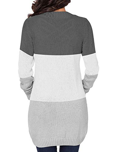 luvamia Womens Long Sleeve Open Front Buttons Cable Knit Pocket Sweater Cardigan