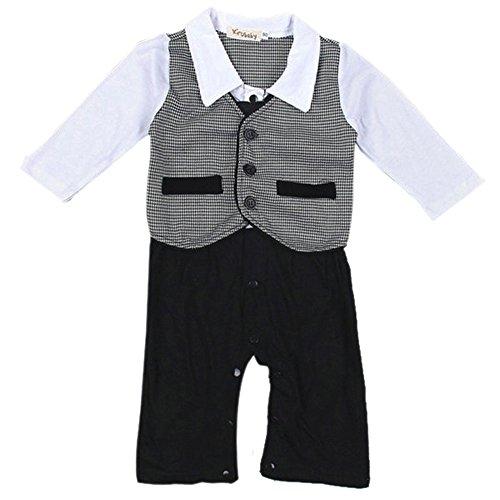 Weixinbuy Baby Boy's Cotton Gentleman Formal Necktie Party Suit Romper
