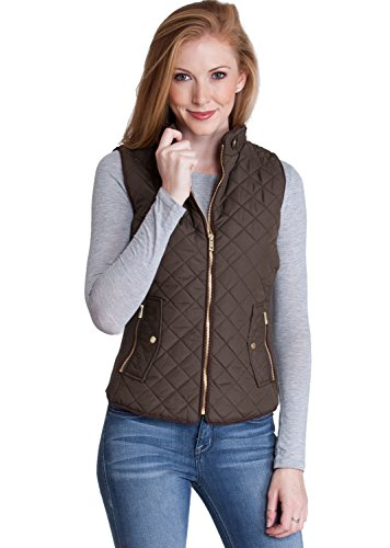 Ladies Olive Quilted Padded Zipper Vest (Green Quilted Vest)