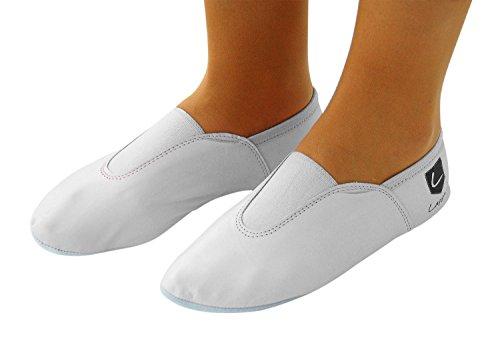 Lappa.de 225GP Gymnastikschuhe, Ballettschuhe, Schläppchen, Turnschläppchen, Tanzschuhe mit Gummipads von lappade Gr. 28-46 Weiß