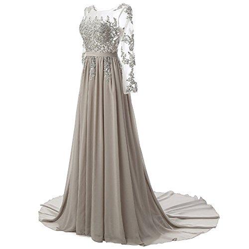 Acciaio Vestito Perline Lungo Pura Sposa Da Grigio Abito Manica Delle Donne Merletto Bess Sera WH4Iqv0Ox1