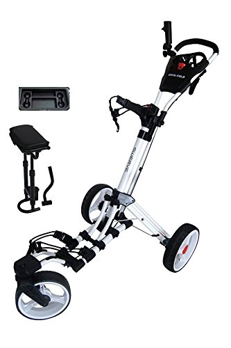 Swerve Founders Club 360 Swivel Wheel Qwik Fold Golf Push Cart with Deluxe Seat (White)