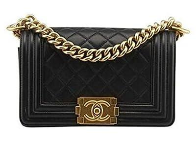 Braun Chanel Black Leather diamond single shoulder bag