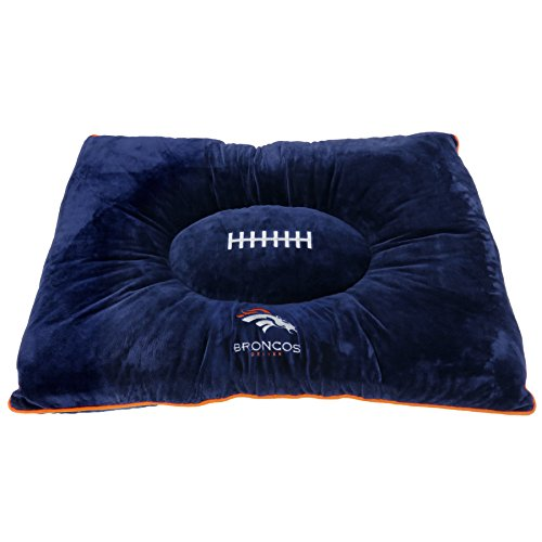 NFL PET Bed - Denver Broncos Soft & Cozy Plush Pillow Bed. - Football Dog Bed. Cuddle, Warm Sports Mattress Bed for Cats & Dogs