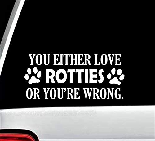 (Rottie Lover Rottweiler Dog Paw Decal Sticker for Car Window 8 Inch BG 260)