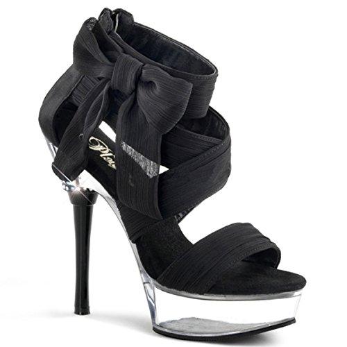 Chiffon Sandalette, Damen, Schwarz (schwarz) Schwarz (Schwarz)