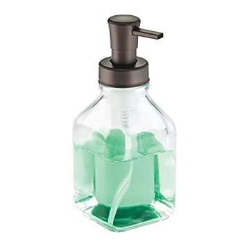 mDesign Dosificador de jabón en espuma recargable - Dispensador de jabón de vidrio con 553 ml de capacidad - Accesorio de baño perfecto para jabón y ...