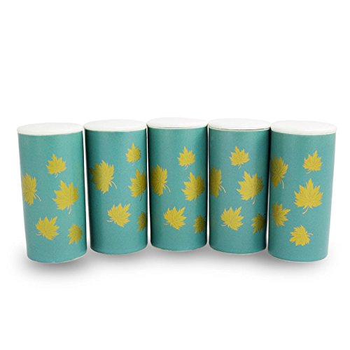 Golden Leaves Ceramic Scattering Tubes - Pack of 5 Ceramic Cremation Urn for Ashes - Extra Small - Holds Up to 15 Cubic Inches of Ashes - White Memorial Urns for Ashes