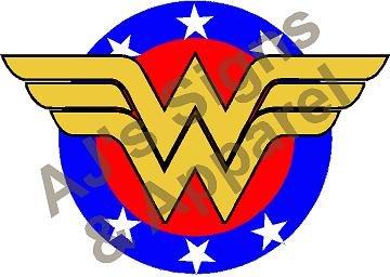 (AJ's Signs & Apparel Wonder Woman Shield Vinyl Sticker Decal Cars Trucks Vans Walls Laptop MacBook)