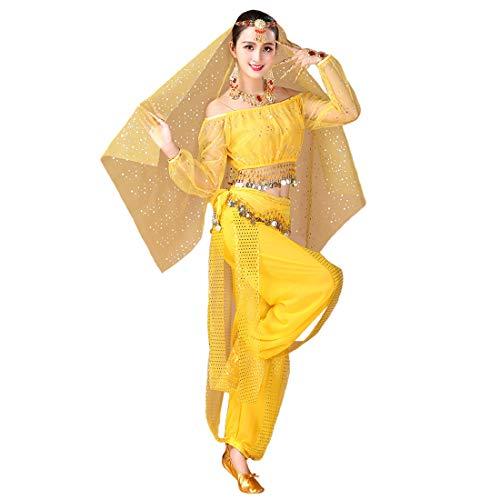Maylong Womens Polka Dot Harem Belly Dance Halloween Costume Carnival DW59 (Yellow)